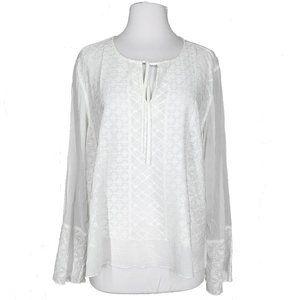 J Jill Sheer Embroidered White Shirt Bell Sleeve